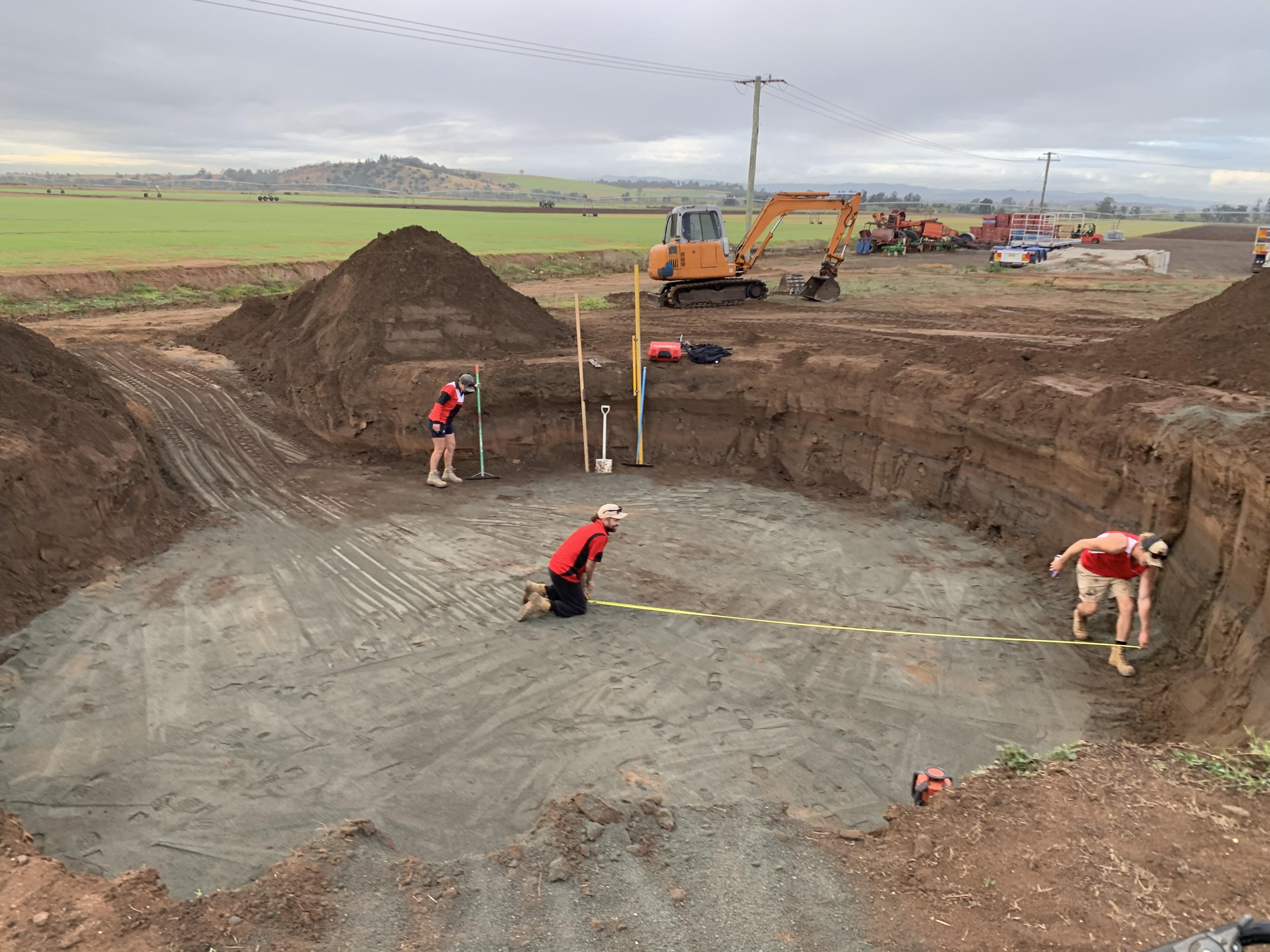 Preparing a pad for a built on-site 110,000 litre concrete rain water tank