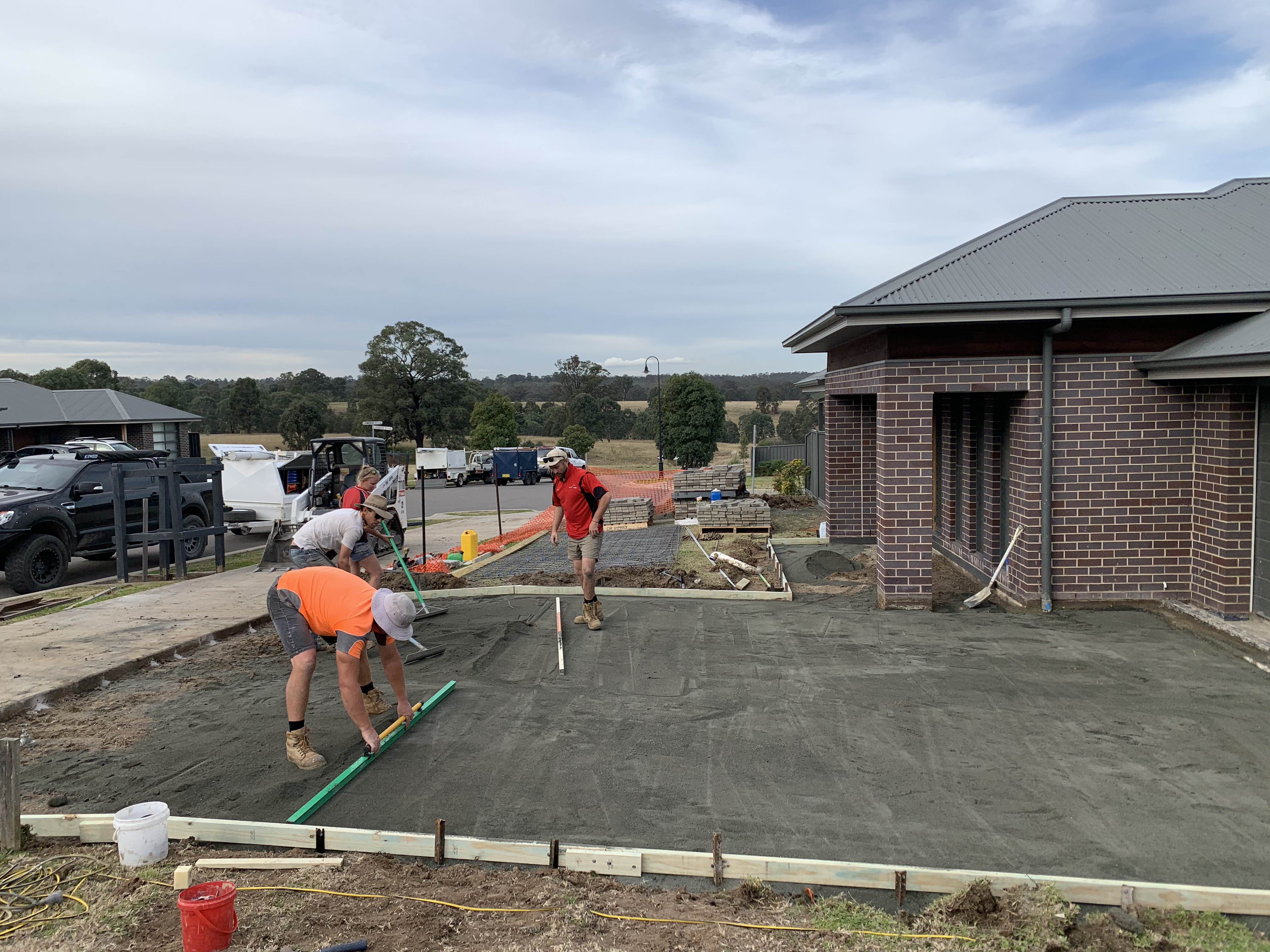Forming up to pour a new concrete driveway
